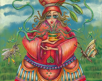 """She Was Nourished By Honeyed Green Tea - an 8 x 10"""" Art PRINT for those who love whimsical characters and tea and honey lovers and drinkers"""