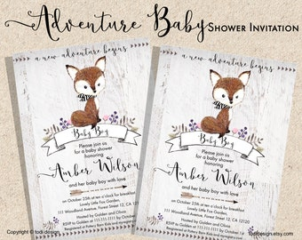 Adventure Fox Baby Shower Party Invitation - Little Fox- Baby Boy Tribal invitation and envelope liner Printable digital file