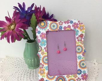 Flower Power Decoupaged Earring Holder Picture Frame Earring Organizer Gifts for Girls Decoupaged Earring Organizer