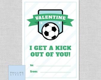 printable SOCCER Valentine's Day cards . kids classroom valentines . instant download . soccer . DIY