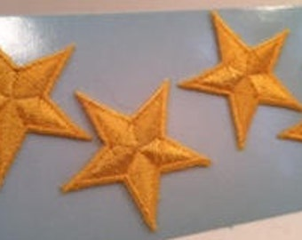 4 Iron-On Applique Gold Stars