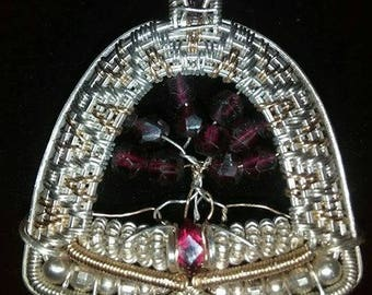 Ruby and Garnet Tree of Life Pendant
