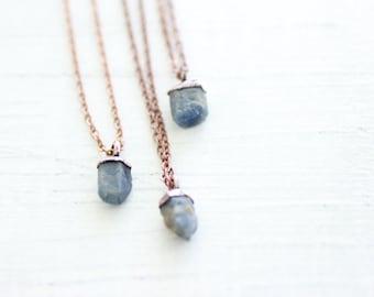 Raw Sapphire Necklace Copper Necklace Electroformed Pendant Electroformed Sapphire Raw Sapphire Blue Sapphire Blue Corundum