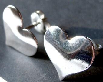Large Heart Studs Sterling Silver Heart Post Earrings Heart Stud Earrings Valentine Jewelry Gift