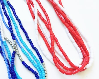 craft lot jewelry destash of small beaded multistrand necklaces in red white blue for repuposing or wearing--mixed lot of 2