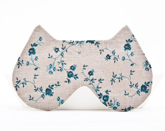 Sleep Mask Cat, Floral pattern, Gray Cat Mask Valentine's Day Gift Boho Accessories Bridesmaid Gift Cute Sleep Mask