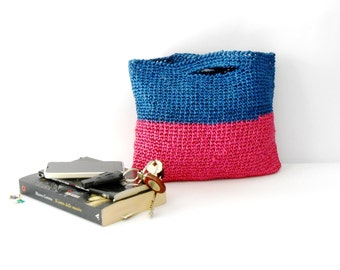 raffia crochet beach bag, block colors handbag, fuchsia and blue crochet bag, vintage style bag, crochet purse, gift for her, mother's day