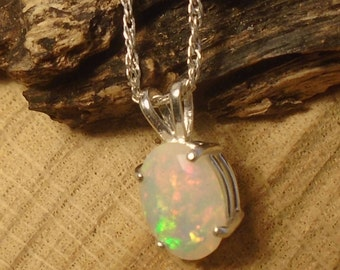 Ethiopian Fire Opal Necklace, Sterling Silver Necklace, 1.48 Carat  Facet 10.8 x 8.5 mm Natural AA Welo Fire Opal