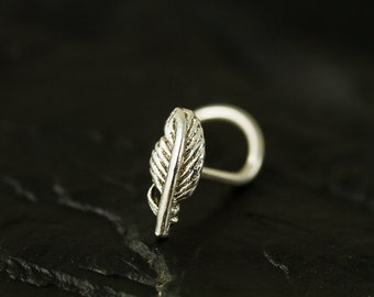 Mini feather sterling silver nose stud / nose screw / nose ring