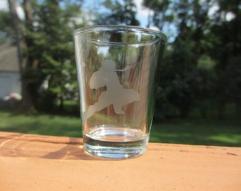 Captain Falcon Knee Etched Shot Glass