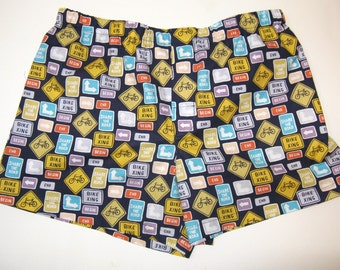 Biking Boxers, Mens Underwear, Bicycles and Road Signs, Cycling, Father's Day Gift.
