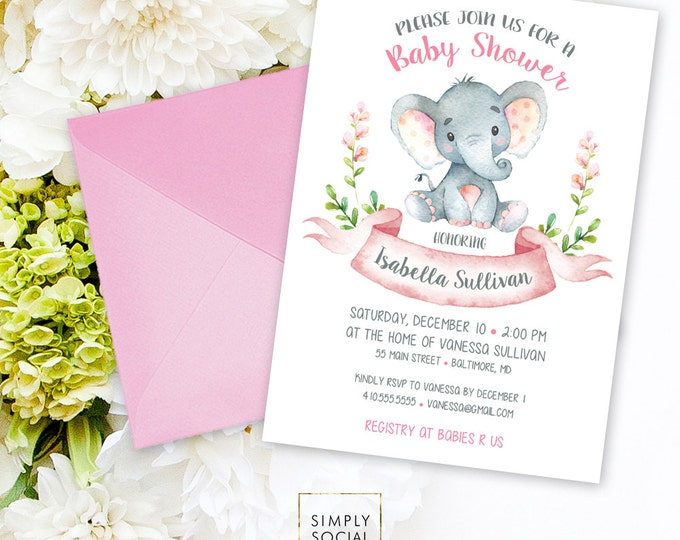 Elephant Baby Shower Invitation - Floral Pink Boho Elephant It's A Girl Floral Baby Shower Invitation Watercolor Calligraphy Printable
