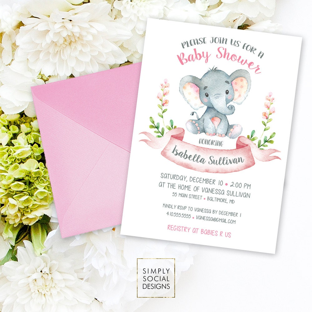Elephant Baby Shower Invitation - Floral Pink Boho Elephant It\'s A ...