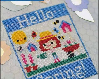 50% OFF FROSTED PUMPKIN STiTCHERY Hello Spring counted cross stitch patterns at thecottageneedle.com honey bees garden birdhouse Easter