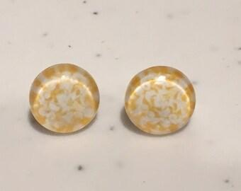 10MM Yellow Speckle Stud Earrings