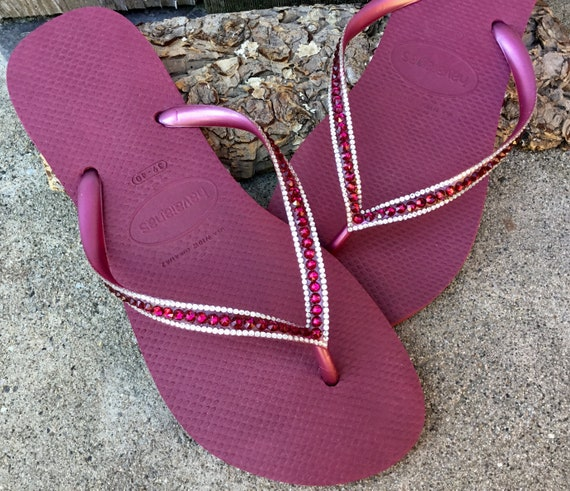 Pink Havaianas Slim Flip Flops Beet Ruby Red Raspberry Fuchsia w/ Swarovski Rhinestone Jewel Beach Bridal Wedding Bling Custom Crystal Shoes