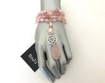 Mala Necklace - Mala Beads - Rose Quartz Mala - Yoga Beads - Mala - 108 Mala - Pink Mala - Lotus Charm Mala - Gemstone Mala - Stretch Mala