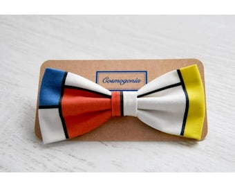 Bow tie Print composition in red, blue and yellow