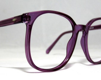 Vintage 80s Large Square Horn Rim Eyeglass Frames. Amethyst Purple.
