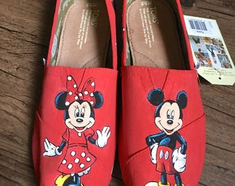 Hand Painted Mickey and Minnie Toms
