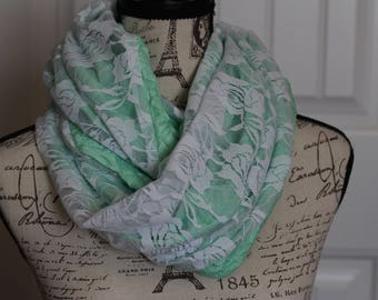Mint Green Infinity Scarf with White Lace Overlay
