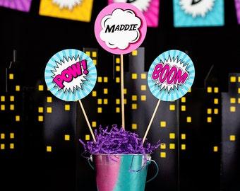 Girls Superhero Party Centerpieces - Pink Superhero Centerpieces - Superhero Table Decorations - Printable Centerpieces by Printable Studio