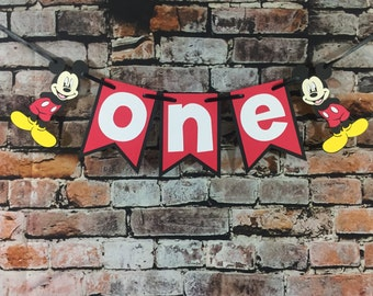 Mickey Mouse One Banner Happy Birthday Banner High Chair Banner Photo Prop Mickey Mouse Banner Mickey Mouse
