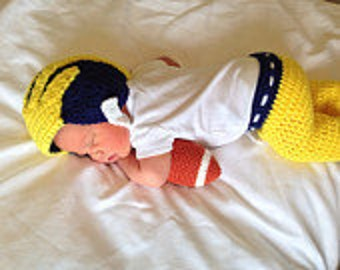 University Of Michigan Inspired Crochet Baby Football Helmet Hat and Pants- Newborn, 0-3 Month Sizes