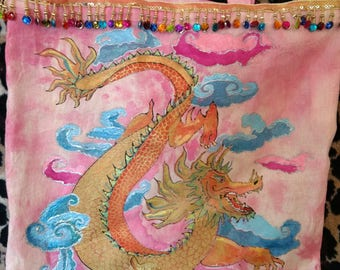 CHINESE HOROSCOPE TOTE. Hand- dyed and Painted Tote Bag with Chinese Dragon Design