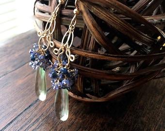 Francis - Prasiolite, Tanzanite, Iolite, saphirs bleus et 14k Gold filled longues boucles d'oreilles
