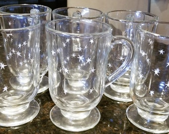 Vintage Mid Century Modern Pressed Glass Starburst Print Mugs set of 6