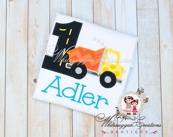 First Birthday Dump Truck Embroidered Shirt - PREMIUM Custom Shirt - Baby Boy 1st Birthday Outfit