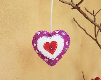 Original Handmade Felt Heart Ornament