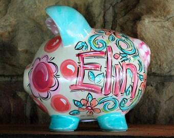 Piggy Bank for girls, Ceramic Piggy Bank, Personalized Piggy Bank