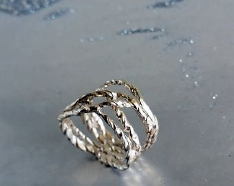 Sterling Silver Wrap ring, Wrapped silver ring, Silver stack ring, Silver wrap around ring, Sterling Silver Twig Ring, Silver branch ring