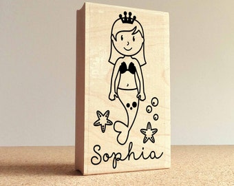 Personalized Mermaid Rubber Stamp for Children, Custom Mermaid Name Stamp - Choose Hairstyle and Accessories