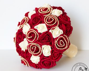 Red wedding bouquet, red bridal bouquet, red and ivory rose bouquet, red and ivory bouquets, silk flower wedding bouquet with pearls