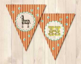 Carnival themed <I AM ONE>-First Birthday Banner Digital File