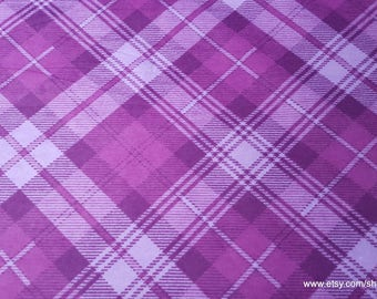 Flannel Fabric - Radiant Orchid Plaid - By the yard - 100% Cotton Flannel