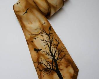 Men's Tie / Valentines Day Gift / Groomsmen Necktie / Art Necktie/ Pained Necktie/ Styling Necktie/ Artwork Crow on the tree