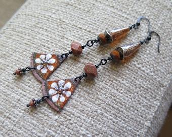 very long romantic earrings, very long earrings, statement earrings, floral earrings, glass enameled flower earrings, lightweight earrings