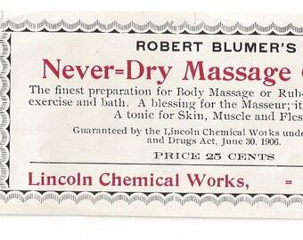 Robert Blumer's Never Dry Massage Cream Vintage Label, 1910