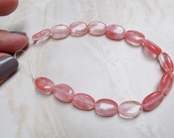 Cherry Quartz oval beads