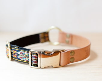 """Personalised Leather Dog Collar with Metal Side Release Buckle Blue/Yellow Wide Vegetable Tanned - Nav Navy 1"""""""