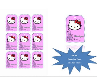 Hello kitty Thank You Tags, Thank You Tag, Birthday Thank You Tag, Instant Download,Hello kitty  Favor Tags, Hello kitty Birthday, Thank You