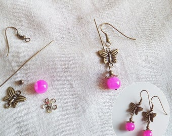 Butterfly - pink pearls A22063 earrings Kit