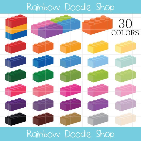 Lego Clipart Lego Bricks Clip Art Colorful Legos Rainbow