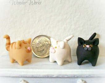 One Dollhouse Kitty Cat Bank Miniature 1:12 Scale Room Decor Hand Sculpted Kitty Cat, Little Cat, Cute Feline Bank