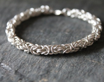 Sterling Silver Byzantine Bracelet - Handmade Chainmaille - Classic Modern Jewelry - Handcrafted Chain
