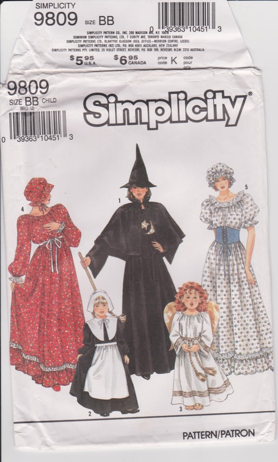 Simplicity 9809 Halloween Costume Sewing Pattern! Girl\'s Costumes ...